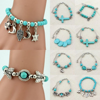 Wholesale Charms Adjustable Tibetan Silver Turquoise Beaded Bracelet Wristband Womens Bangle Jewelry