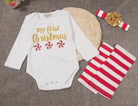 baby climbing harness - Baby Girl Christmas Bodysuit Set Little deer long sleeved trio harness climbing two piece suit