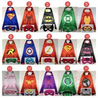 america holidays - 15design Children Superhero L70 W70CM Double Side cape and mask sets Child Cosplay Halloween Costumes kids Captain America cape mask set