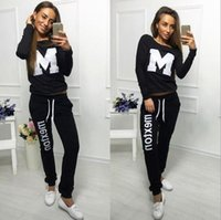 Wholesale ladies suit sportswear letter M Velor Suit long sleeved sweater and pants suit lady running Hoodies