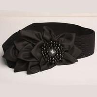 Wholesale Essential Women Fashion Black Width Flower Pearl Textured Band Elastic Cinch Waist Belt