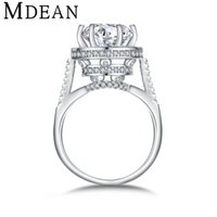Wholesale MDEAN White Gold Plated Rings for women engagement vintage bijoux round ring CZ diamond Jewelry Bague wedding women Rings MSR412