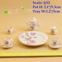 coffee pot tea - 1 scale Dollhouse Miniature Porcelain China Tea Set Coffee set Pot Cup Tableware Set Doll house accessories Mini Decoration Accessory