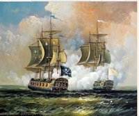 One Panel battle art - Framed Pirate Ship Barbary Coast Caribbean Sea Battle Pure Hand Painted Seascape Art Oil Painting On Canvas Multi sizes John