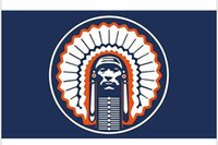 Wholesale BLUE Illinois Fighting Illini Chief custom flags x150cm with Metal Grommets x5ft