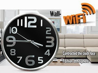 baby wall clocks - Motion detection HD P WIFI Camera Round Digital Smart Wall mounted Clock Camera Mini Camcorders Home security baby monitor high quality