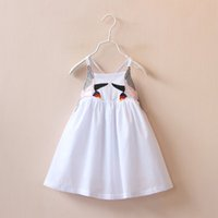 baby slings patterns - Casual Comfortable White Embroidered Bird Pattern Sling Baby Girls Kids Summer Dress Loose Sundress Children Clothing