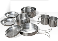 Wholesale New Pieces Stainless Steel Cubiertos Camping Pots Picnic Set Cookware Outdoor Pot Camping Cooking Set Cutlery