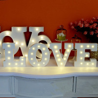 alphabet display letters - New White wooden letter LED Marquee Sign Alphabet LIGHT UP night light Indoor WALL Decoration Wedding Party Window Display Light