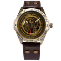 band of brothers - SHENHUA Men s Retro Bronze Case Leather Band Automatic Skeleton Watch Cheap watch band of brothers