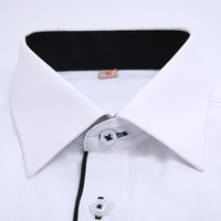 Wholesale Summer Mens Short sleeve Twill White Solid Dress Shirt Cotton Blend Spread Collar Business Casual Slim fit Formal Shirts