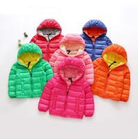 Wholesale Multicolor down Jackets Warm Hoodies Winter Jackets for Baby girls boys kids clothing Children lightness zipper coats