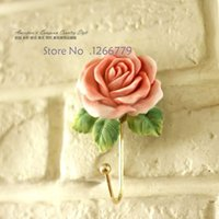 beautiful coat hooks - 2015 NEW Very beautiful Pastoral style stereo rose coat hooks clothes hook hook fine workmanship stereo rose hook
