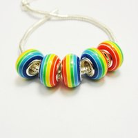 acrylic striped beads - Stock Selling China Rainbow Striped Rondelle x14MM European Style Acrylic Big Hole Bead for Jewelry Making