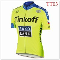 Wholesale Yellow Fluo Tinkoff saxo bank Tour De France Cycling Jerseys size XS XL Short Sleeve cycling tops Road Bicycle Wear