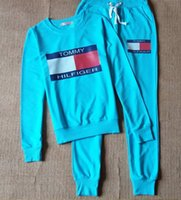 design new tracksuits - 2016 New style Tommy Female Tracksuit Brand Design Women s Hoodies Pants Set Sports Clothing Thickening Fleece