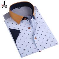 Wholesale Summer Style Fashion Brand Print Men Shirt short sleeve Shirt Men Clothing Camisa Masculina Business Casual Work Shirt Men XL