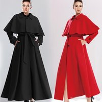 Wholesale New Style Winter X Long Cloak Coats For Women Slim Belted Single Breasted A Line Wool Trench Coat Cape Detachable Outwear