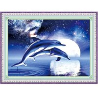 acrylic painting sky - New DIY Diamond Embroidery Kit Cross Stitch D Acrylic Diamond Painting Animal Dolphin Blue Starry Sky Set