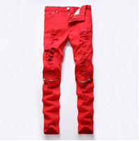 Wholesale 2016 New Red Ripped Knee Hole Club Jeans Men Famous Brand Slim Fit Cut Destroyed Torn Jean Pants For Male Homme
