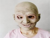 bald costumes - Halloween Mask Masquerade for Adult Old Man Fashion Mask Latex Full Head Masquerade Bald Wrinkled Fancy Dress Mask Costume Prop