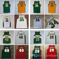 Wholesale High Quality Jersey All Seattle Supersonics Jerseys Gary Payton Shawn Kemp Ray Allen Kevin Durant White Green Yell