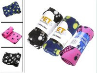 Wholesale Lovely Cute Pet Dog Cat Puppy Blanket Paw Prints Soft Cozy Warm Fleece Mat Bed Cover High Quality