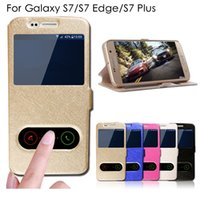 bagging stand - Luxury S7 Silk Pattern Flip Cover For Samsung Galaxy S7 S7 Edge S7 Plus Case PU Leather Phone Bags Cases With Stand Function