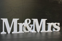Wholesale Letters Decoration Home Garden Medium size freestanding wooden words Mr Mrs Table Decoration for Wedding white