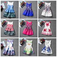 al por mayor boutique de vestidos de fiesta-ofrecer la muestra 20 estilos mariposa de flor gato vestido de flores impresas muchacha grande de los vestidos de fiesta los niños de las faldas de las boutiques de moda de alta calidad