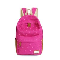 Wholesale 2016 Trendy casual canvas backpack women fashion school bags for girls dot printing backpack shoulder bags mochila