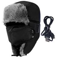 Wholesale Winter Outdoor Sport Soft Smart Bluetooth V3 Earphone Cap Speaker Mic Thicken Fur Handfree Headset Bomber Hats Warmer
