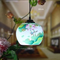Wholesale Chinese Style E27 AC85 V Ceramic Hand painted Pendant Lamps Kitchen Creative Warm Lighting Fixture