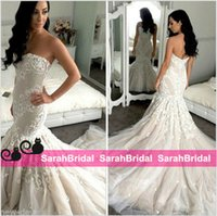 autumn flowers uk - 2016 Elegant Mermaid AU UK Bride Wedding Dresses Tulle Lace Appliqued Luxury Sweetheart Bridal Gowns Chapel Train Plus Size Vestido De Noiva