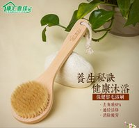 Wholesale Natural Middle Long Wood Wooden Body Brush Massager Bath Shower Back Scrub Massage Spa Scrubber Skin Exfoliation