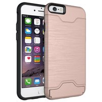 Wholesale iphone wallet case in PC shatter resistant hybrid card holder iphone s back cover case