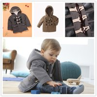 Wholesale Horn Button Children Coat Winter Outwear Kids Clothes New European Style Cotton Overcoat Fashion New Classic Boys Warm Tops Gray Khaki