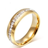 Wholesale Gold Plated Crystal Wedding Rings for Women Stainless Steel Ring Promotion Discount
