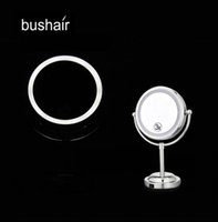 bathroom side mirrors - bushair inch LED Makeup Mirror Table Stand Cosmetic Mirror with Light Double Sides x Magnifying Portable Bathroom Mirror