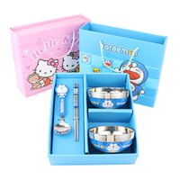 Wholesale Hello Kitty Vigny Doraemon bear tableware set Cartoon children burn proof stainless steel tableware spoon set bowl ZD066C