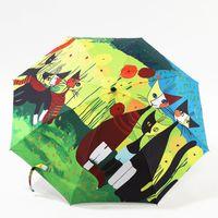 Wholesale Folding umbrella folding umbrella three female fashion design paraguas umbrella umbrella sunscreen cat
