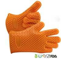 Wholesale Extra Thick Silicone BBQ Gloves Heat Resistant Insulated Waterproof Barbecue Grill Oven Mitts for Cooking Baking Five Finger Gloves