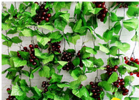 Wholesale 8 Ft Artificial Greenery Chain Grape Ivy Leaves Artificial Grapes Vine Foliage Simulation Flowers Plants For Home Room Garden Wedding