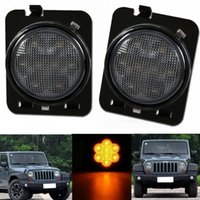 Wholesale 2PCS Pair For Jeep Wrangler Amber Front Smoked Fender Parking Side Marker LED Light Front Turn Signal Lenses
