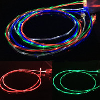 Flujo de Movimiento Glow Cable Led Visible Light-up Flashing 1M 3FT USB Data Sync Cable cargador para Samsung S7 S6 borde HTC M9 Blackberry