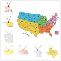 arizona jewelry - USA America States Pendant Map Necklaces With Heart DIY State Pendent Necklace Stainless Steel Jewelry Arizona Montana Nebraska State