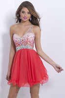 Wholesale New Sexy One Shoulder Red Purple Short Homecoming Dresses with Beaded Crystal Tulle Mini Cocktail Graduation Gown QC89