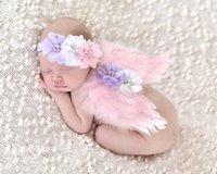 baby shower outdoors - Baby Wings with Headband Photography Props Set Newborn Shower Outdoor Wings flower headband Accessories Toddler Birthday Gift
