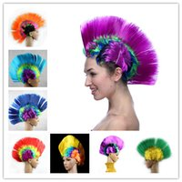 Wholesale Multicolor Women Men Mohawk Hair Wigs Fashion Football Soccer Fans Punk Wig Performance Cosplay Party Wigs for Halloween Christmas Festival