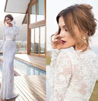 Wholesale Elegant Long Sleeve Lace Sheath Wedding Dresses With Sashes Floor Length White Bride Bridal Gown robe de mariage vestido de noiva